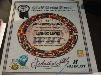 Hublot и WBC организовали благотворительный аукцион